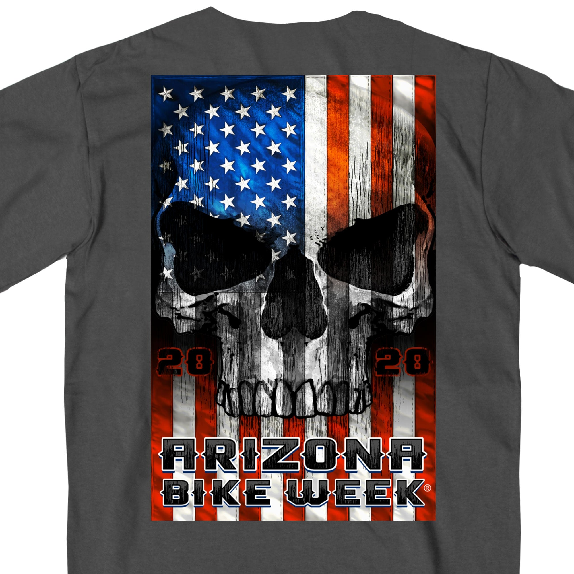 Official 2020 Arizona Bike Week Patriot Skull White Long Sleeve
