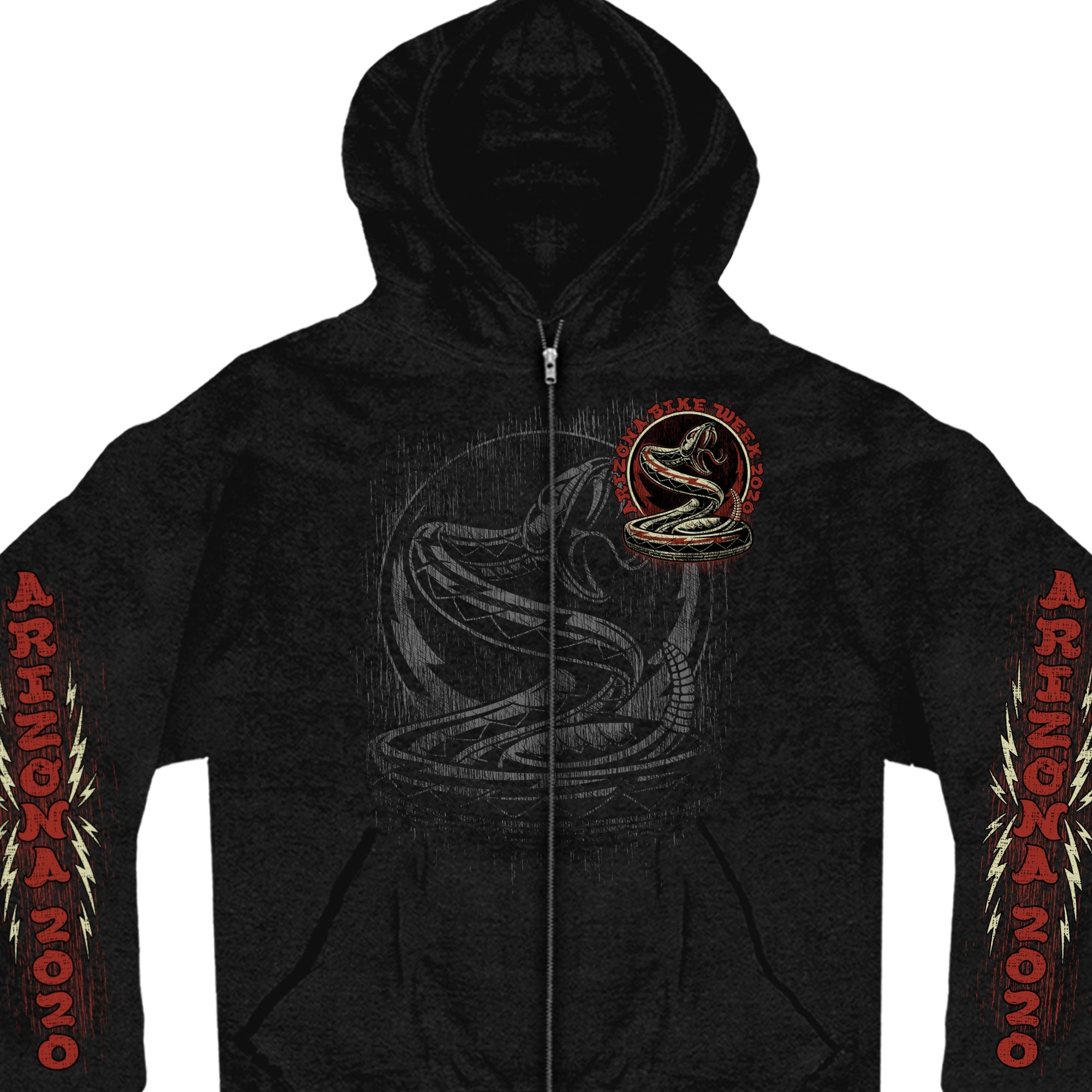 Official 2020 Arizona Bike Week Rattler Emblem Zip Up Hooded Sweatshirt