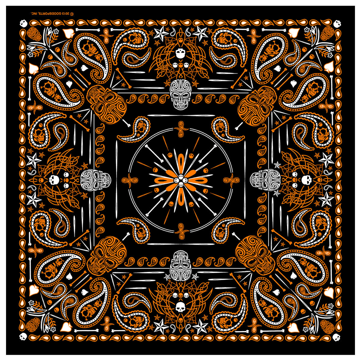 Hot Leathers Orange Paisley Skulls Bandana