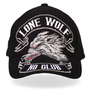 Hot Leathers Lone Wolf No Club Ball Cap