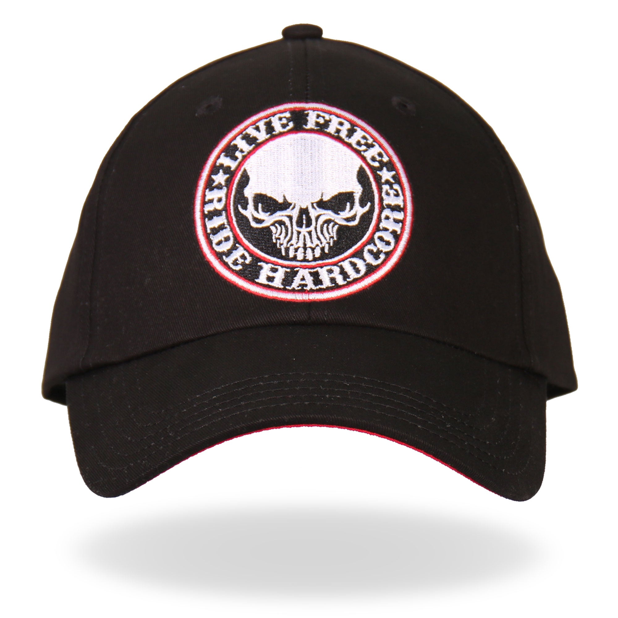 Hot Leathers Live Free Ride Hardcore Skull Baseball Cap