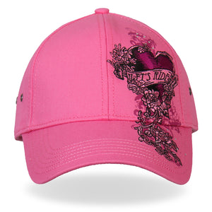 Hot Leathers Ladies Let's Ride Heart Pink Ball Cap