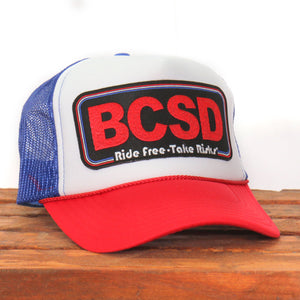 Official Sturgis Buffalo Chip Take Risks Trucker Hat (Red, White, and Blue)