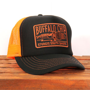 Official Sturgis Buffalo Chip Spark Plug Trucker Hat (Black and Orange)