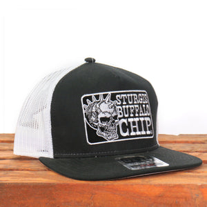 Official Sturgis Buffalo Chip Spiked Skull Snapback Hat (Black and White)