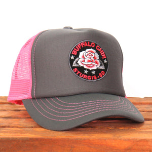 Official Sturgis Buffalo Chip Rose Trucker Hat (Pink and Grey)