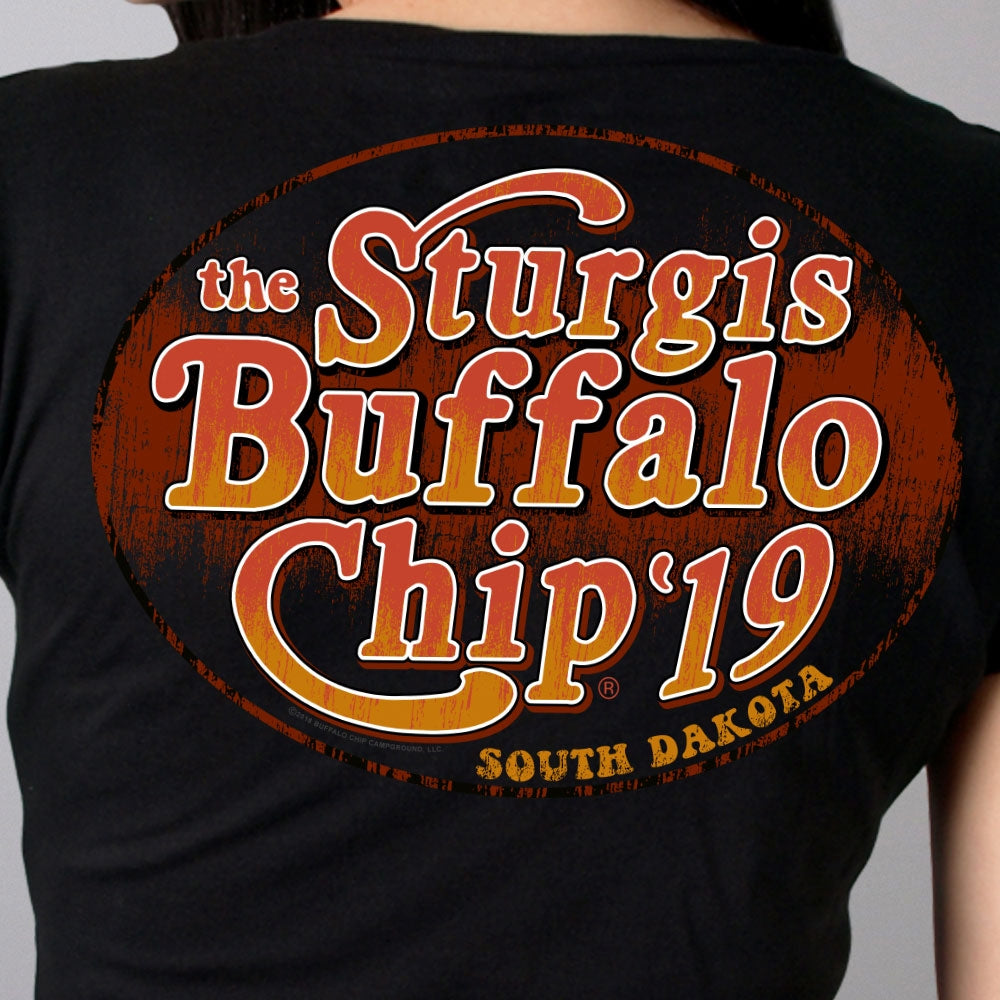 Official 2019 Sturgis Buffalo Chip Seventies Ladies T-Shirt