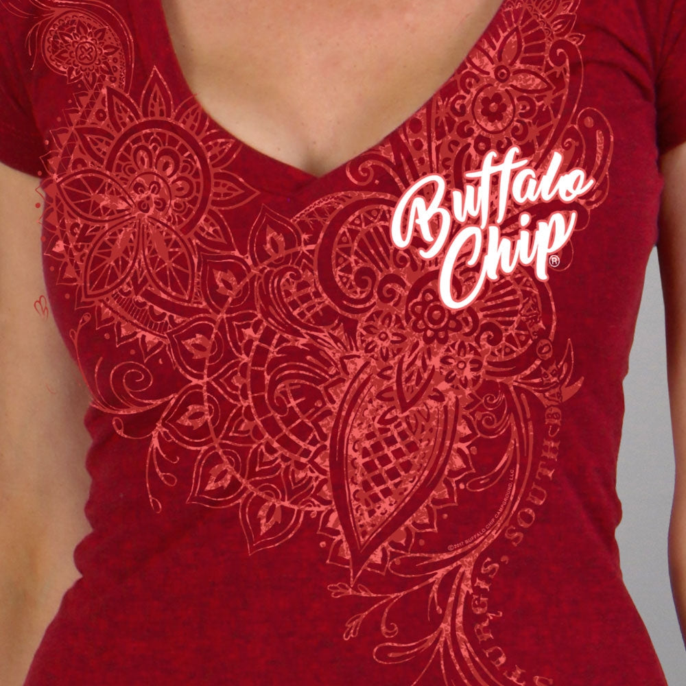 Official 2019 Sturgis Buffalo Chip Lace Pattern V-Neck Ladies Tee