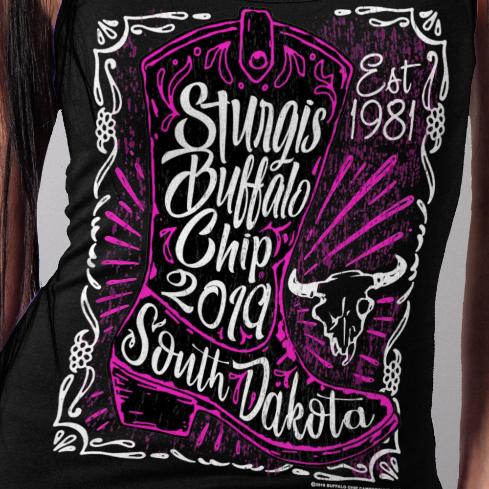 Official 2019 Sturgis Buffalo Chip Boot Ladies Tank Top