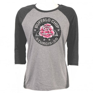 Official 2020 Sturgis Buffalo Chip Rose 3/4 Sleeve Ladies Raglan