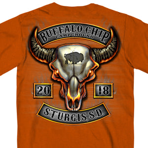 Official 2018 Sturgis Buffalo Chip Rocker Texas Orange Short Sleeve Tee