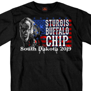 Official 2019 Sturgis Buffalo Chip American Flag T-Shirt