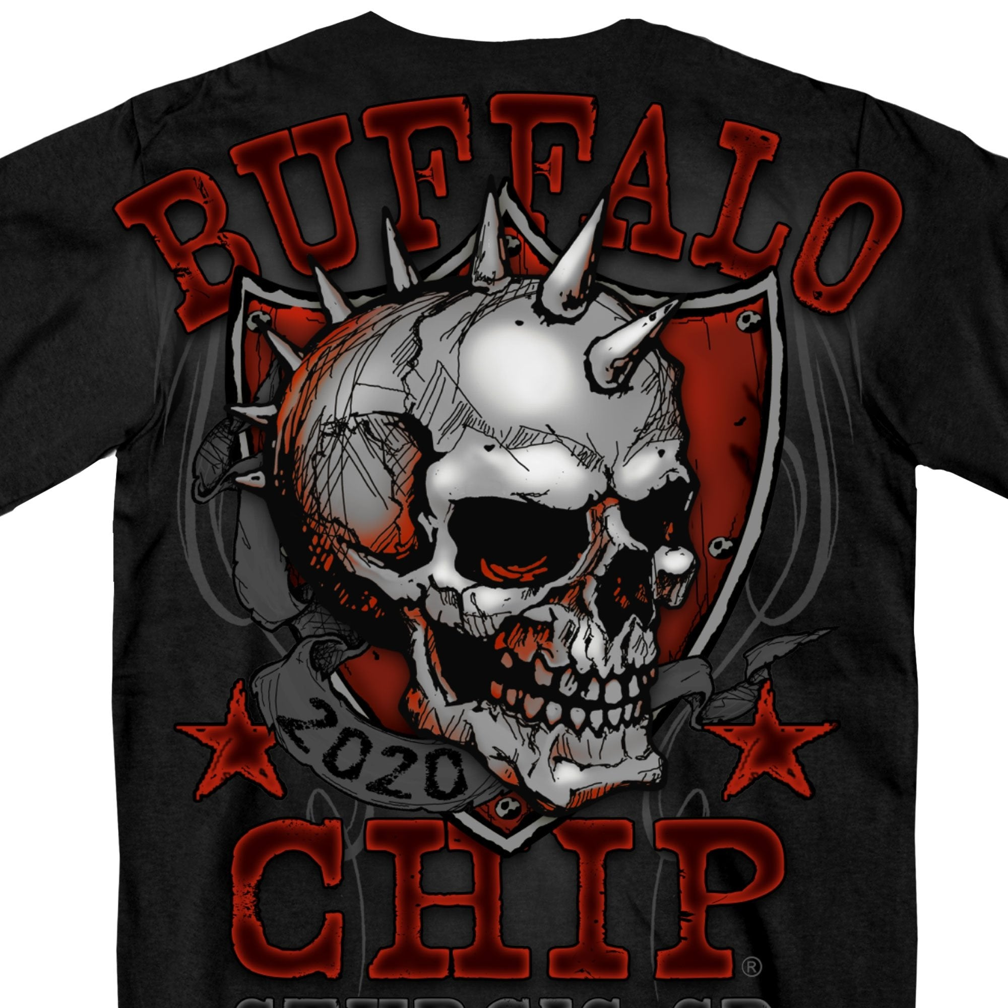Official 2020 Sturgis Buffalo Chip Spike Skull T-Shirt