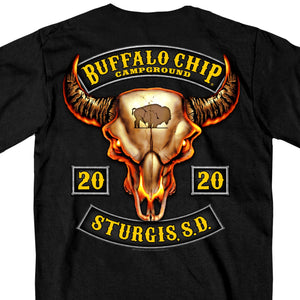Official 2020 Sturgis Buffalo Chip Rocker Skull T-Shirt