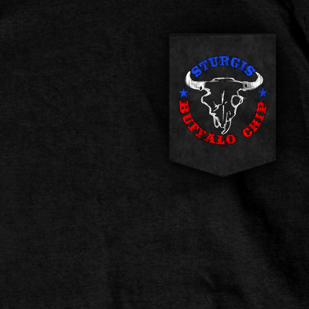 Official 2020 Sturgis Buffalo Chip Painted Flag Pocket Tee