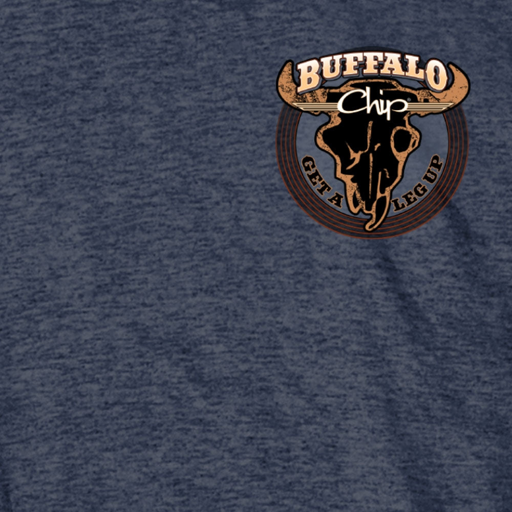 Official 2020 Sturgis Buffalo Chip Get A Leg Up Heather Navy T-Shirt