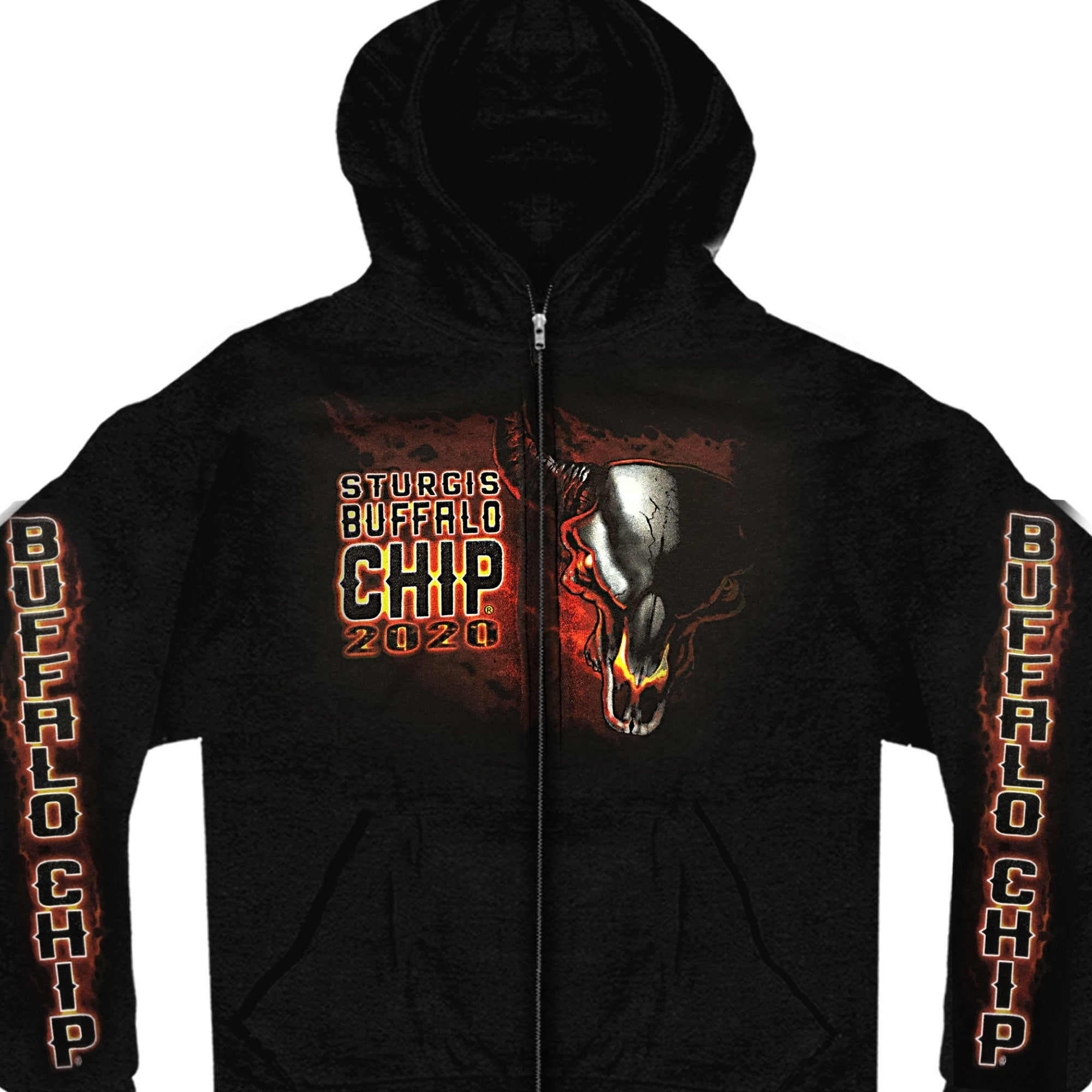 Official Sturgis Buffalo Chip 2020 Fire Eyes Hooded Sweat Shirt