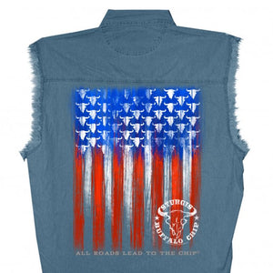 Official 2020 Sturgis Buffalo Chip Painted Flag Sleeveless Denim