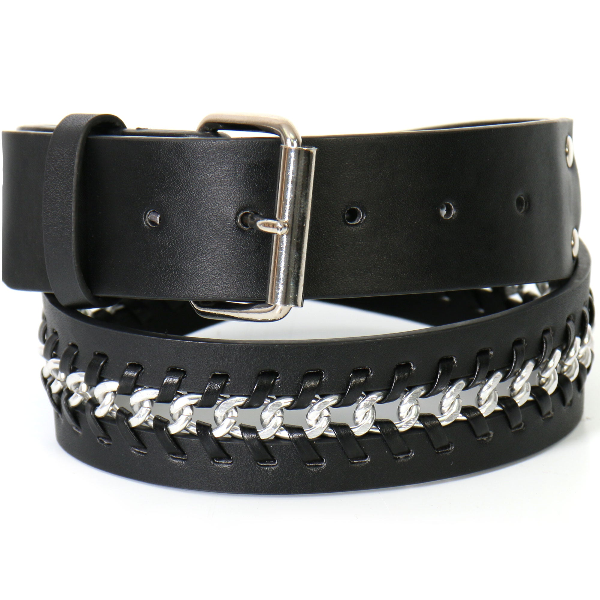 Hot Leathers Center Weave Black Leather Belt