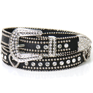 Hot Leathers Hearts and Studs Leather Belt