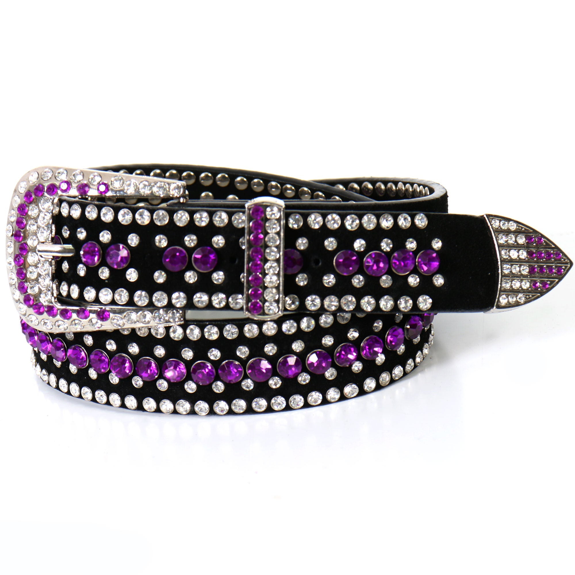 Hot Leathers Purple Rhinestone Ladies Leather Belt