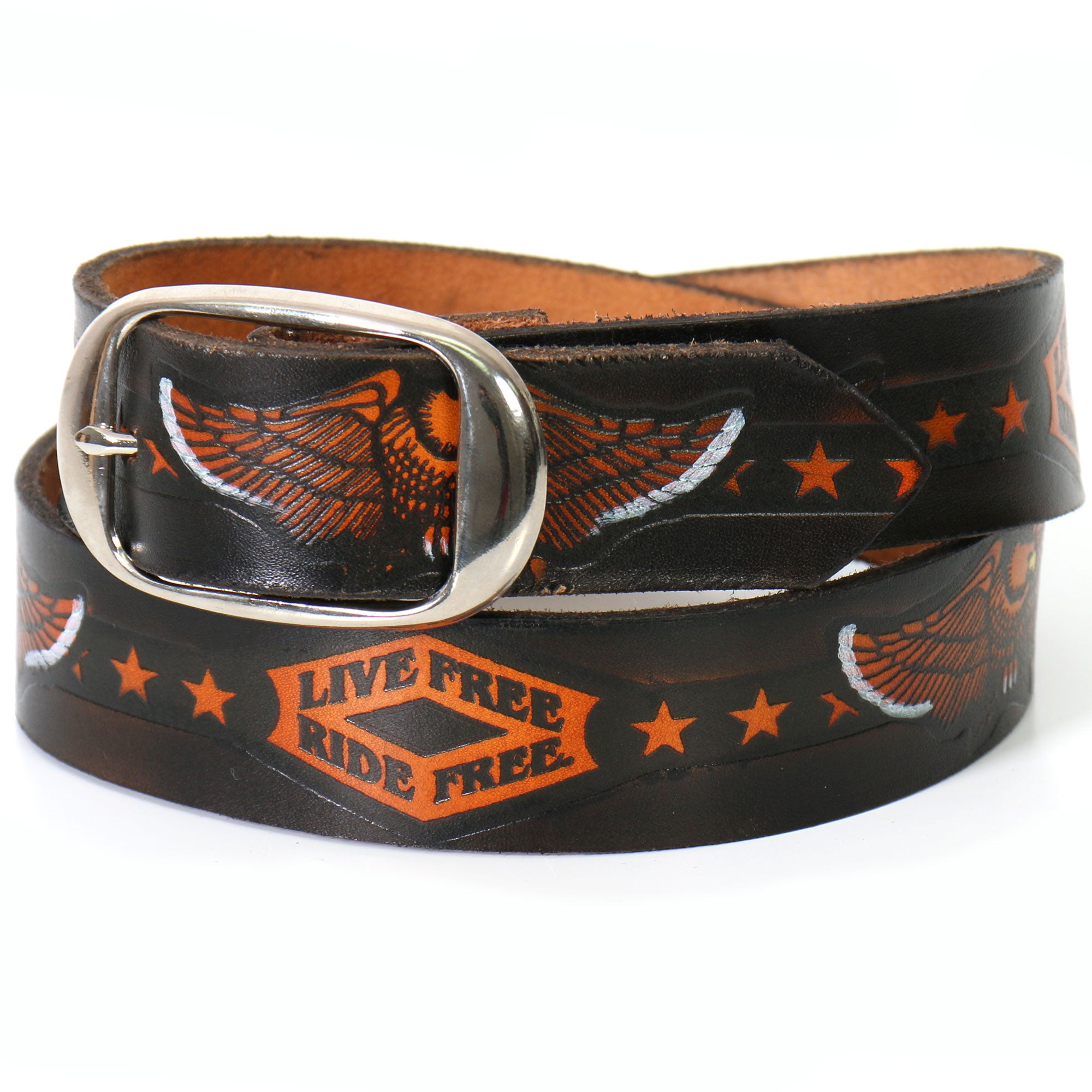 Hot Leathers Live Free, Ride Free Embossed Leather Belt