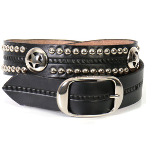 Hot Leathers Western Star and Studs Leather Belt