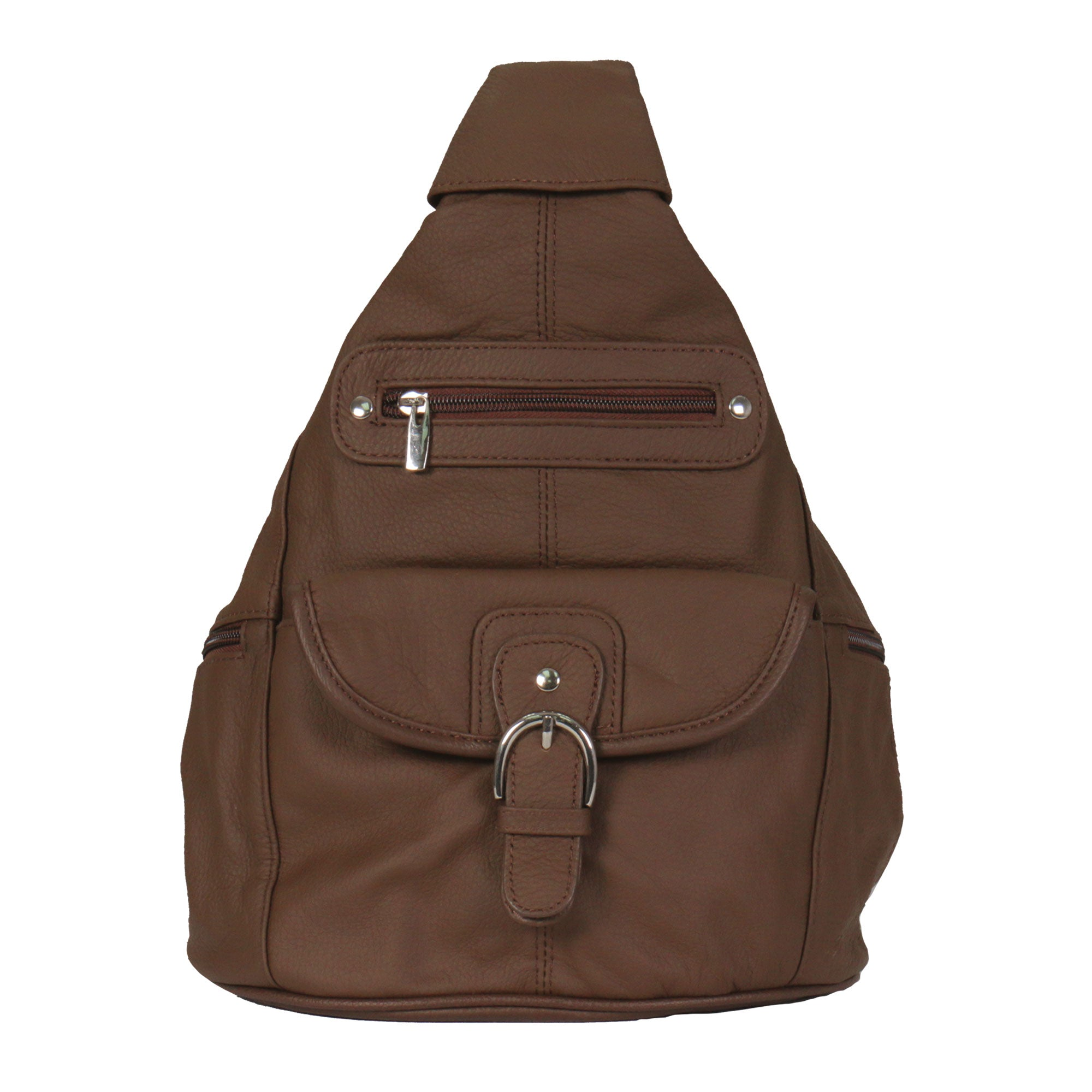Hot Leathers Genuine Brown Leather Backpack Purse