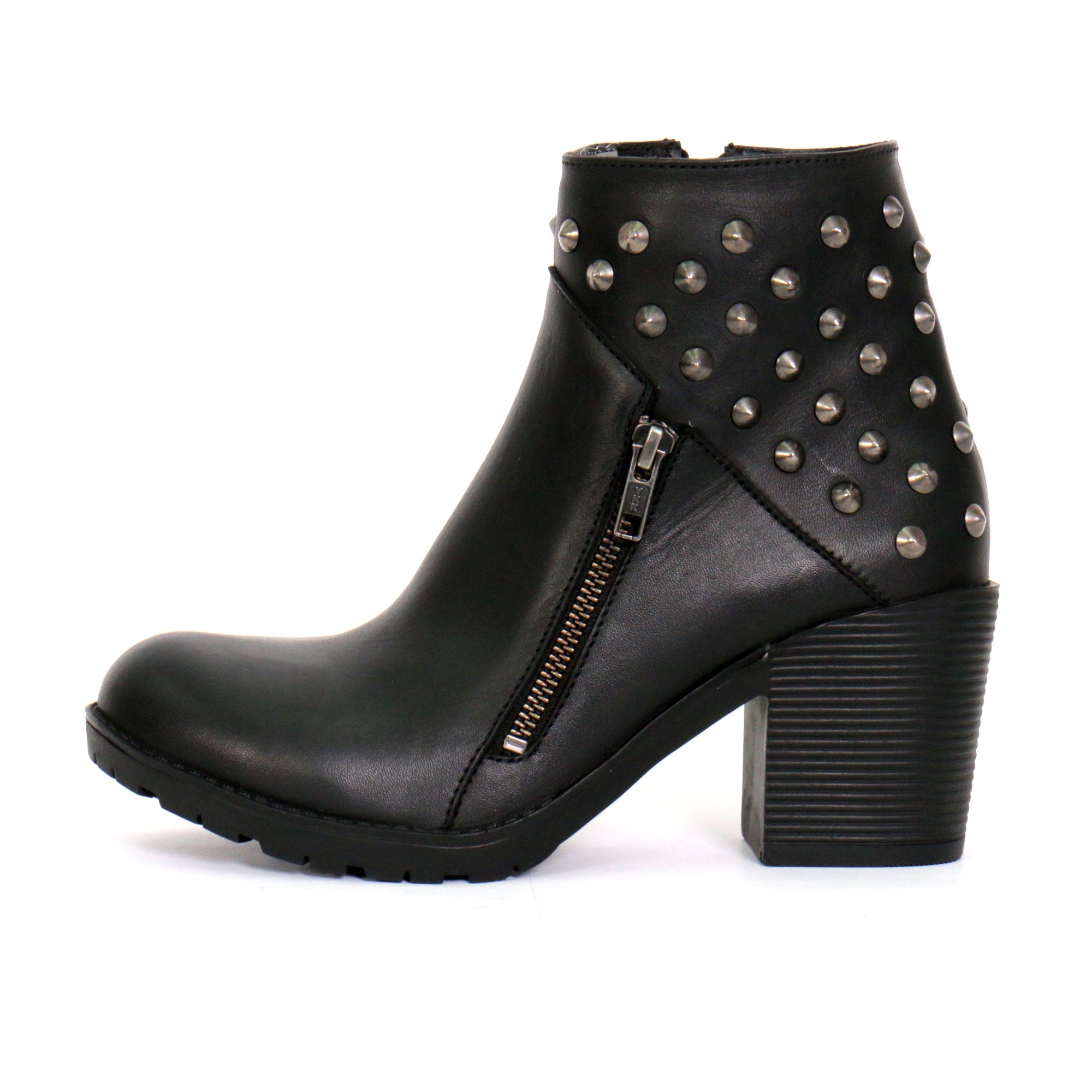 "Hot Leathers Ladies 5"" Studded Ankle Boots with Side Zippers"