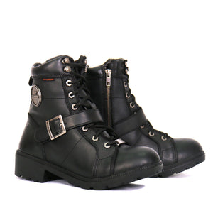 "Hot Leathers Ladies 6"" Full Lace Front Boots with Buckle"