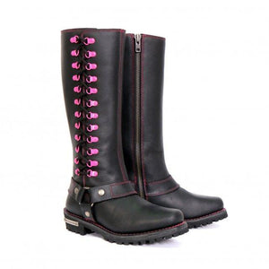"Hot Leathers Ladies 14"" Knee High Harness Boots with Side Zipper"