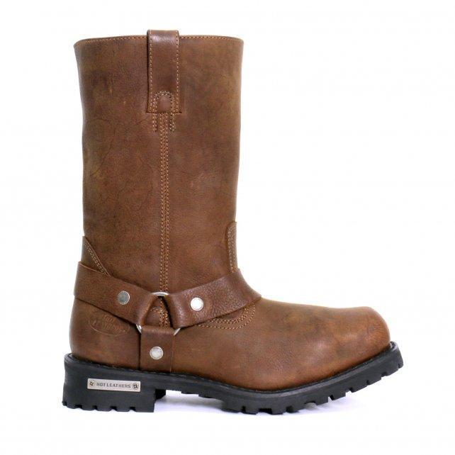 "Hot Leathers Men's 11"" Harness Boots Russet Brown"