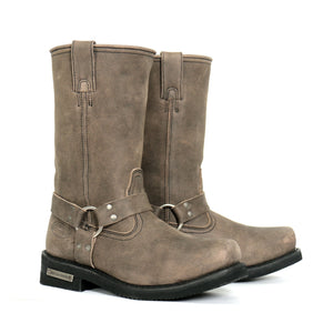 "Hot Leathers Men's 11"" Tall Harness Boots Stone-wash  Brown"