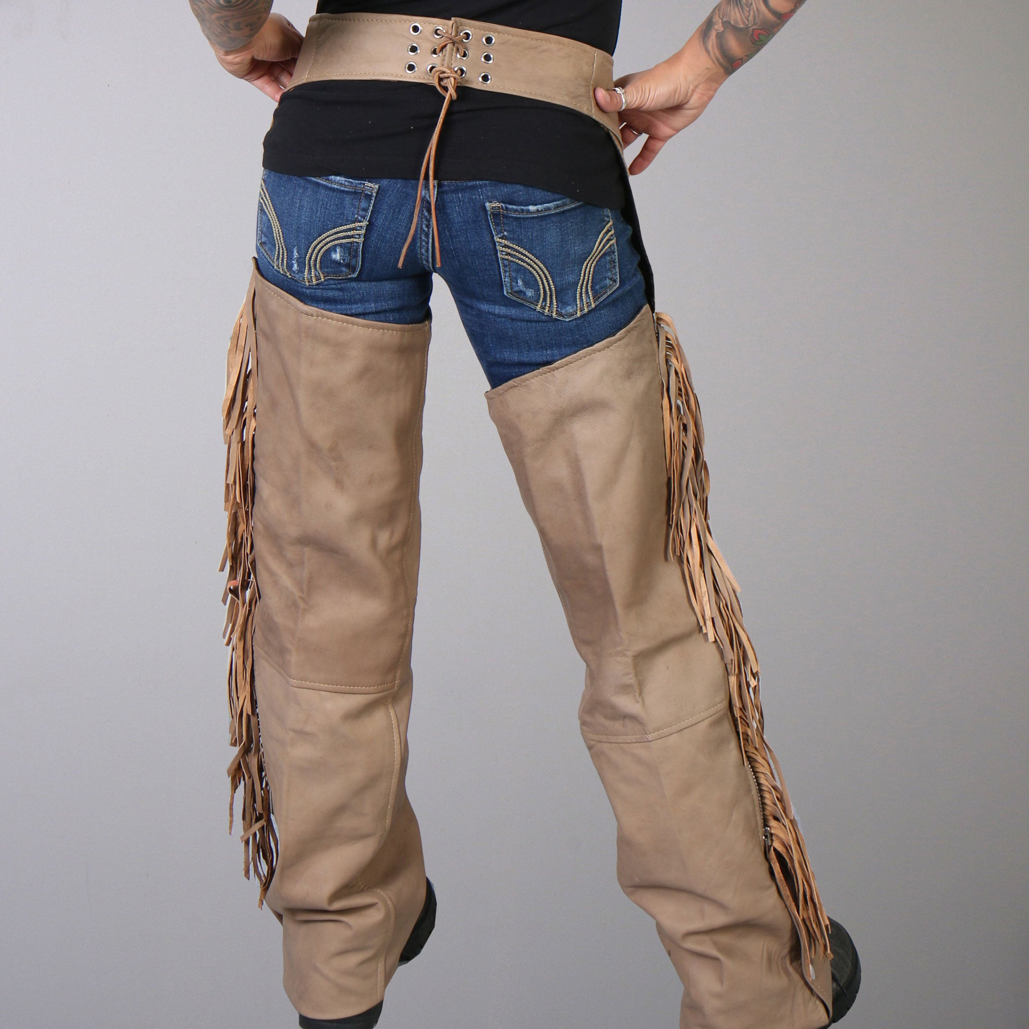 Hot Leathers Ladies Brown Leather Chaps w/Bone & Fringe