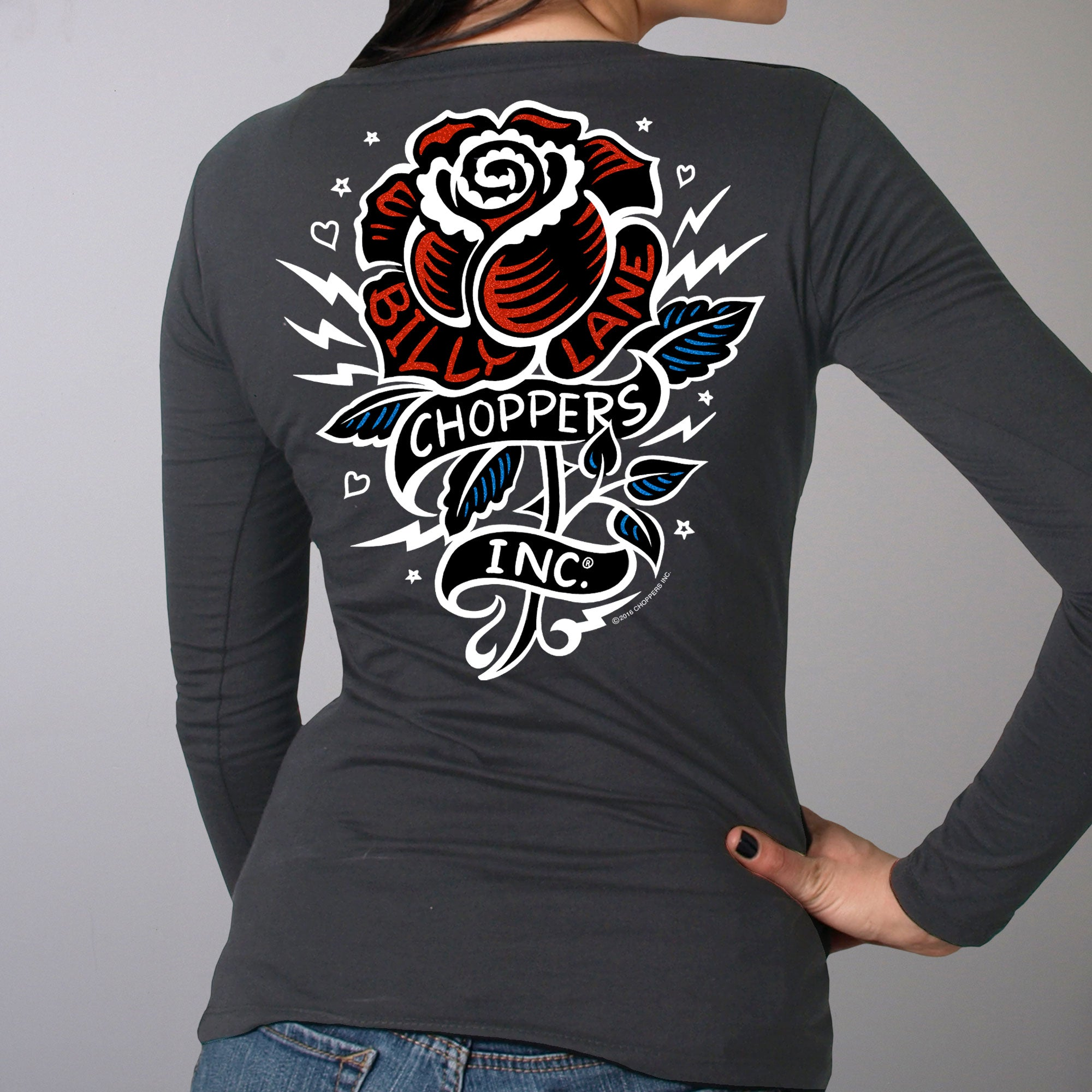 Official Billy Lane's Choppers Inc Tattoo Rose Double Sided Ladies Long Sleeve
