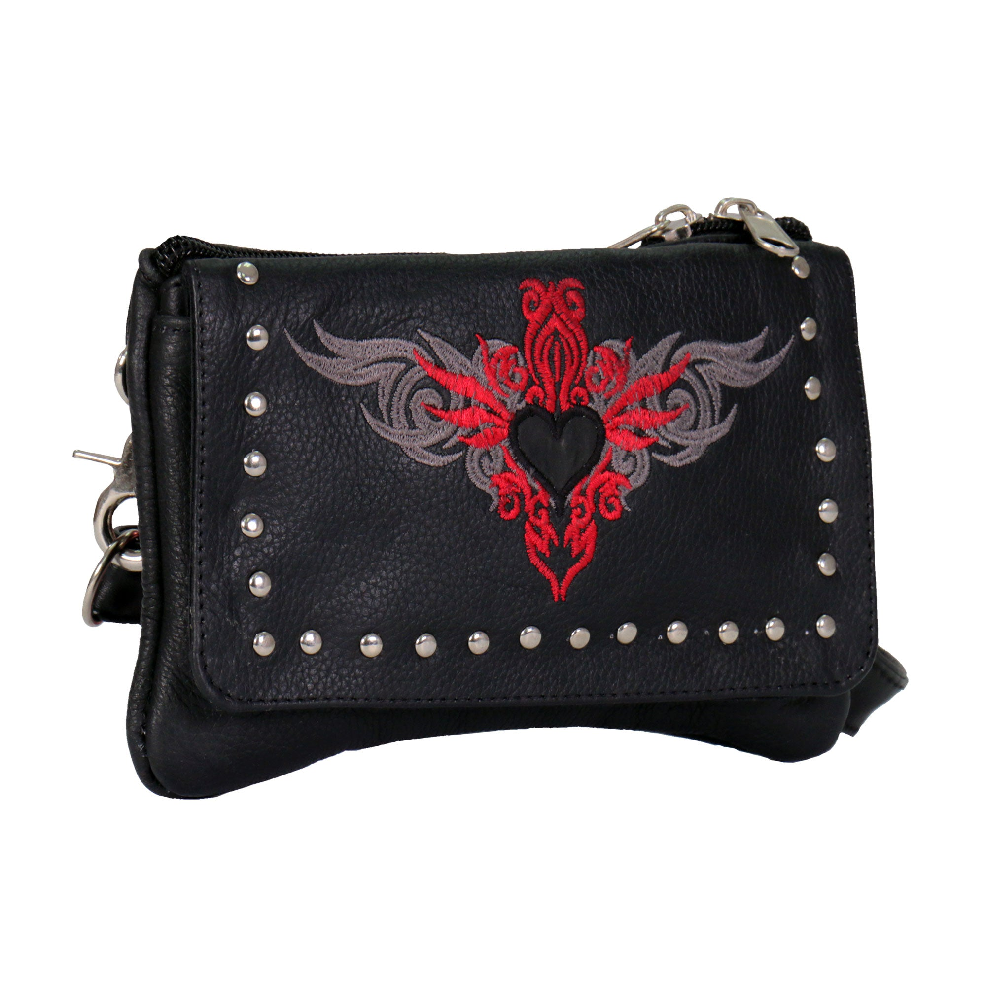 Hot Leathers Embroidered Clip Pouch Purse with Reflective Heart