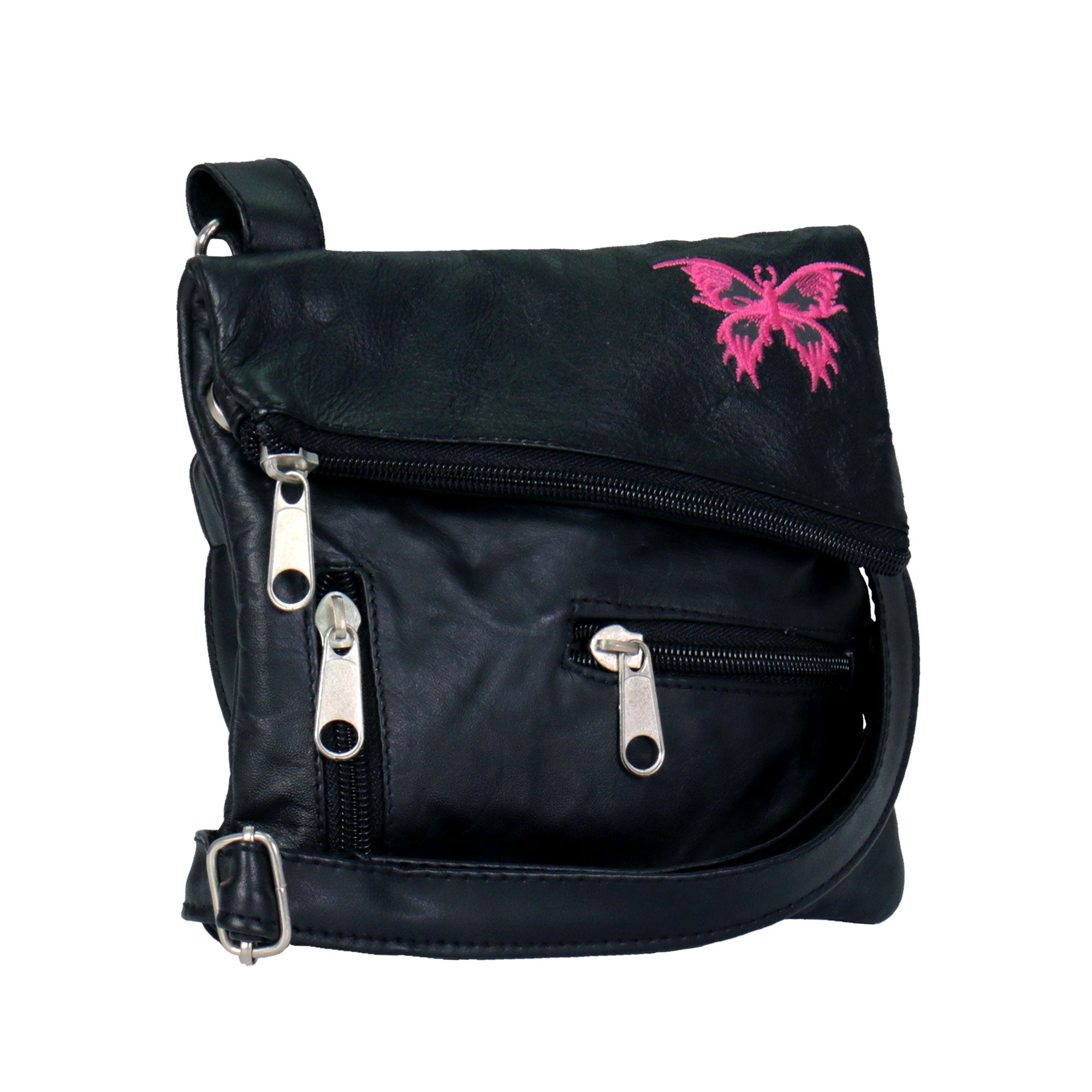 Hot Leathers Embroidered Clip Pouch Purse with Small Pink Butterfly