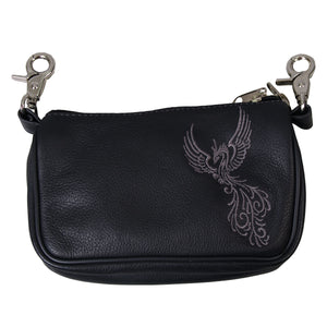 Hot Leathers Embroidered Clip Pouch Purse with Tribal Phoenix