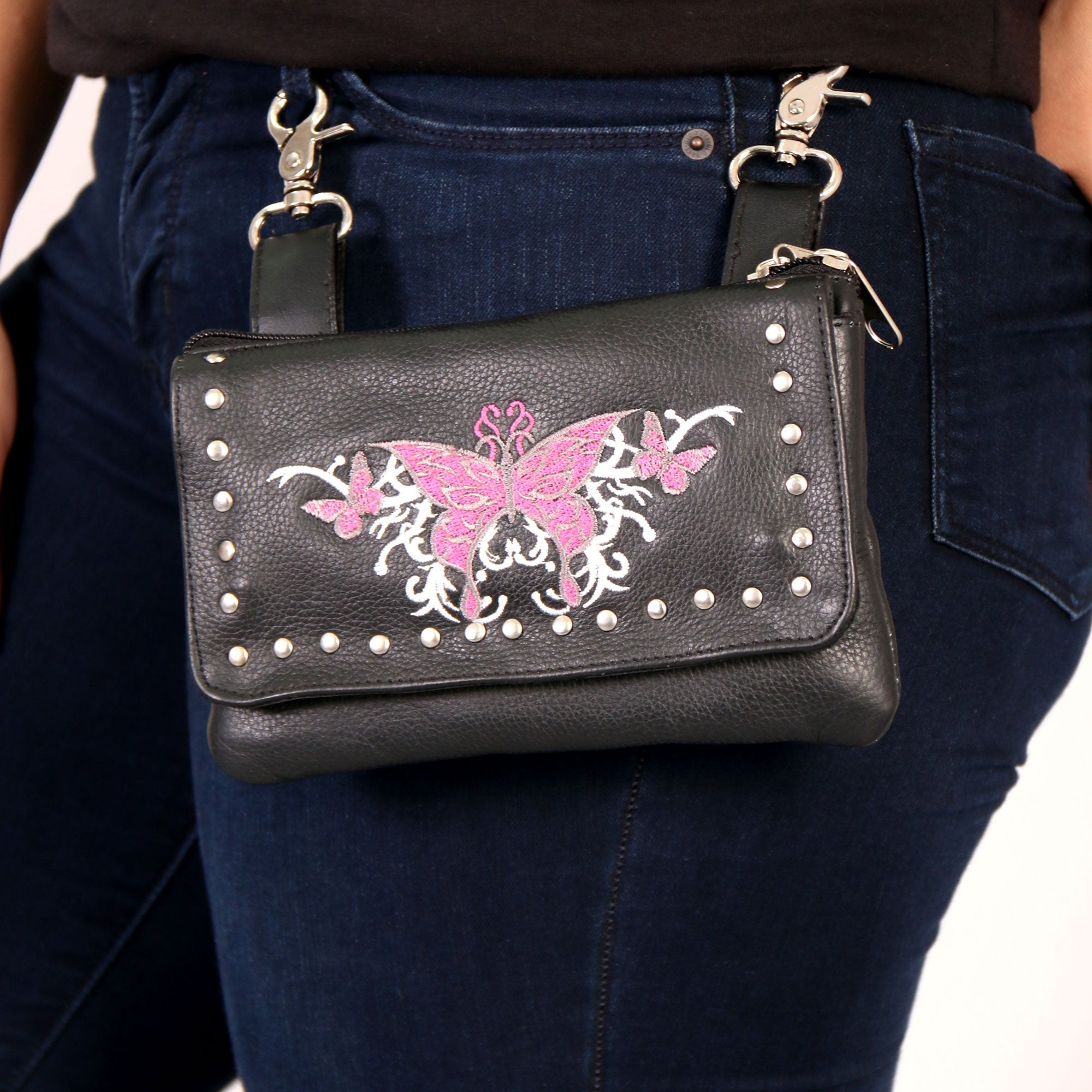 Hot Leathers Embroidered Clip Pouch Purse with Pink Butterfly