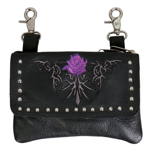 Hot Leathers Embroidered Clip Pouch Purse with Tribal Rose