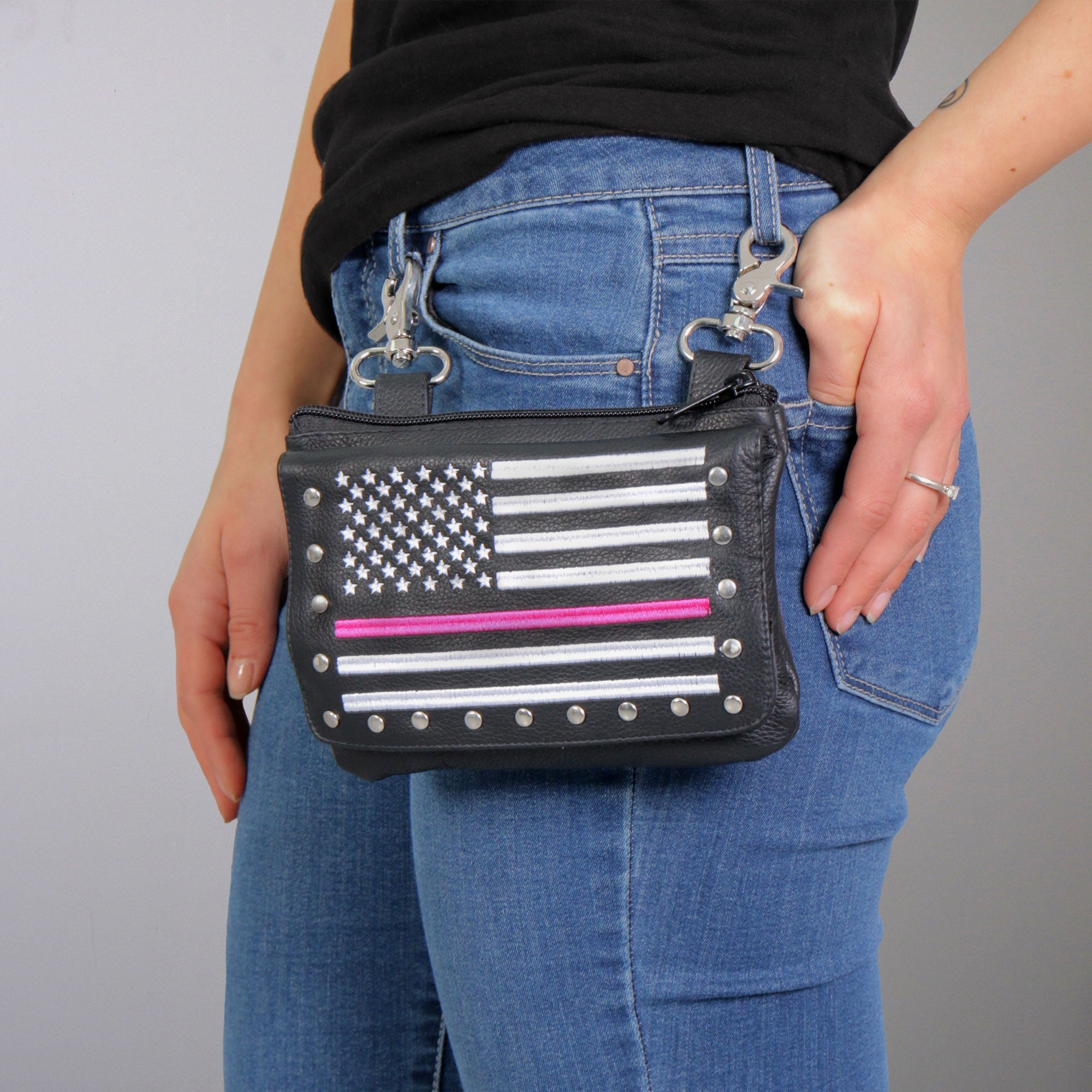 Hot Leathers Embroidered Clip Pouch Purse with Pink Line American Flag