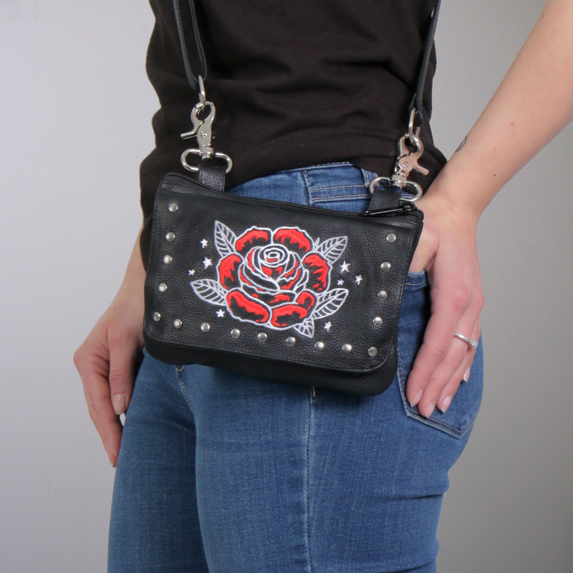 Hot Leathers Embroidered Clip Pouch Purse with Rose and Stars