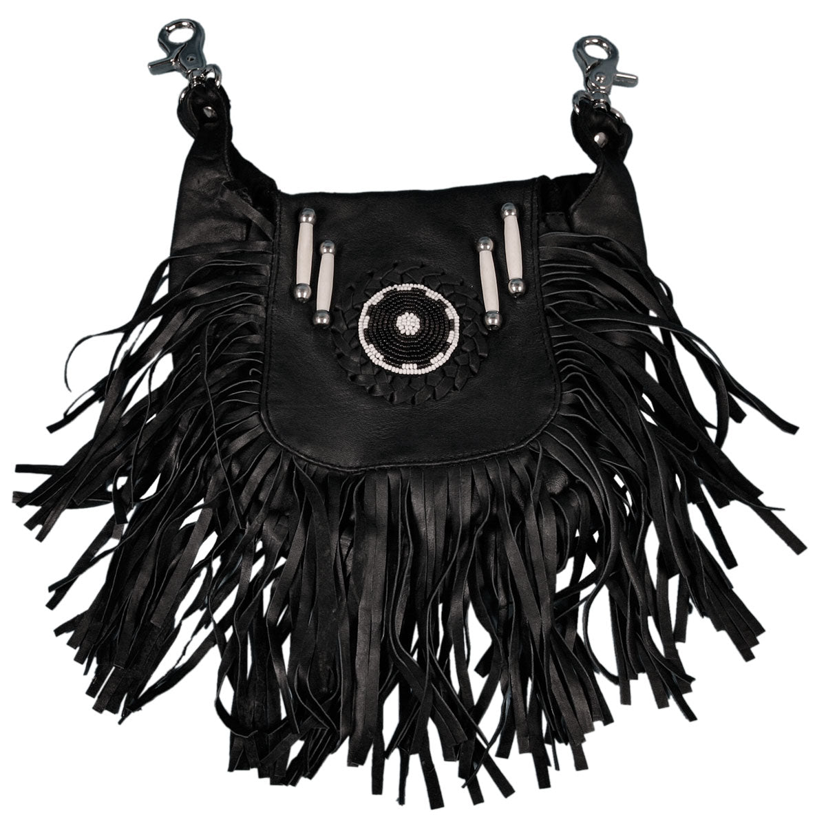 Hot Leathers Soft Clip Pouch Purse with Fringe