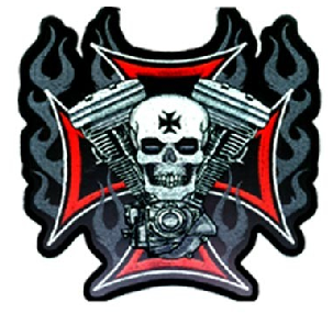 Hot Leathers Patch Cross Motor & Skull 4""