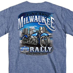 Official 2018 Milwaukee Rally Skyline Heather Navy T-Shirt