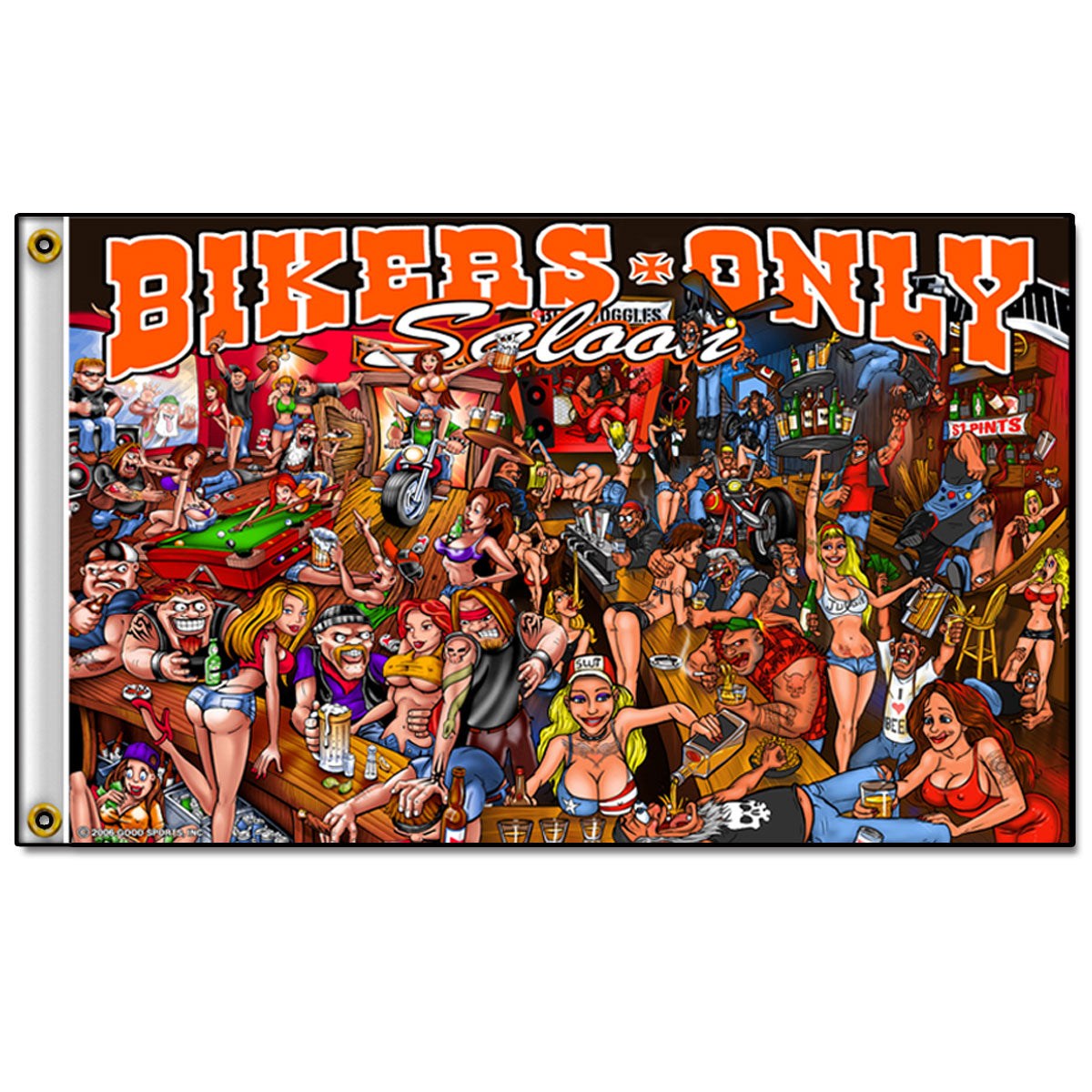 Hot Leathers Bar Scene Biker Flag