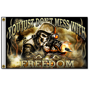 Hot Leathers Skull Soldier Flag