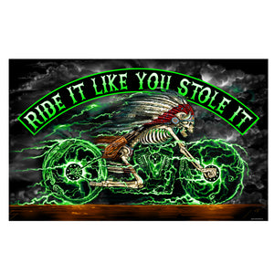 Hot Leathers Skeleton Cycle Full Size Biker Flag