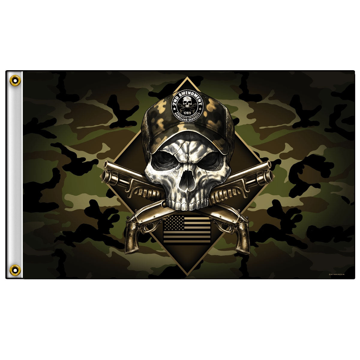 Hot Leathers Camo Skull Flag