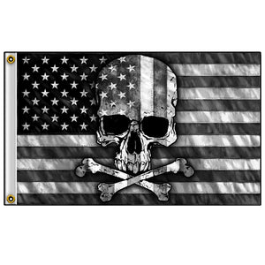 Hot Leathers Gray Skull Flag